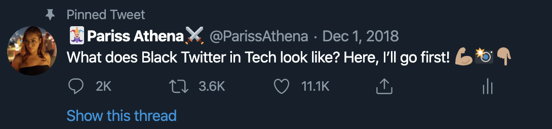 Screen shot of Pariss @ParissAthena tweeting 'What does black twitter in tech look like? Here, I'll go first'